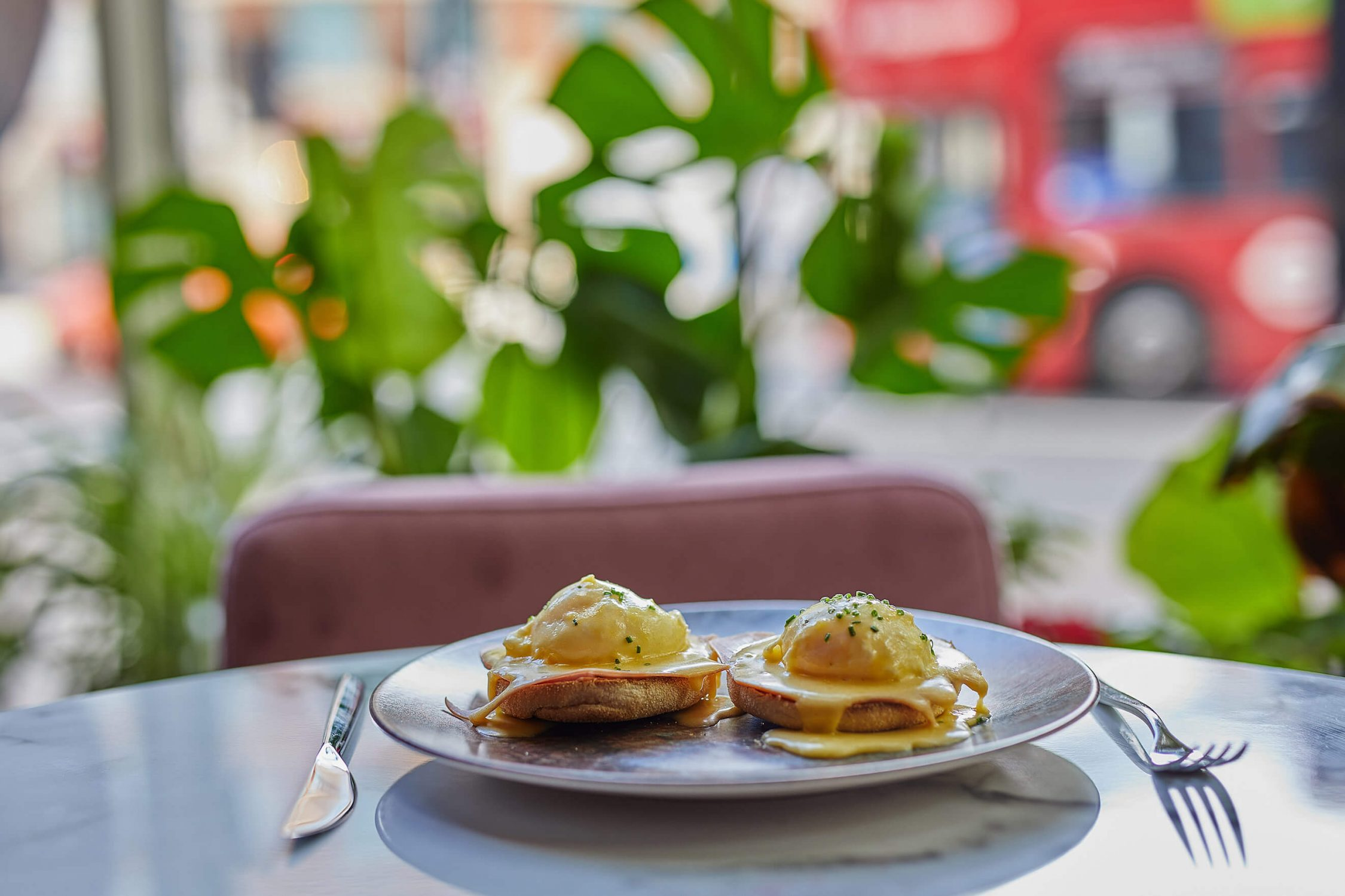 Eggs Benedict in London Restaurant