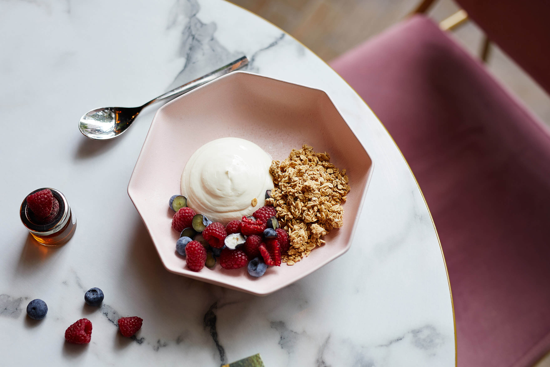 Healthy granola, yoghurt and berries breakfast